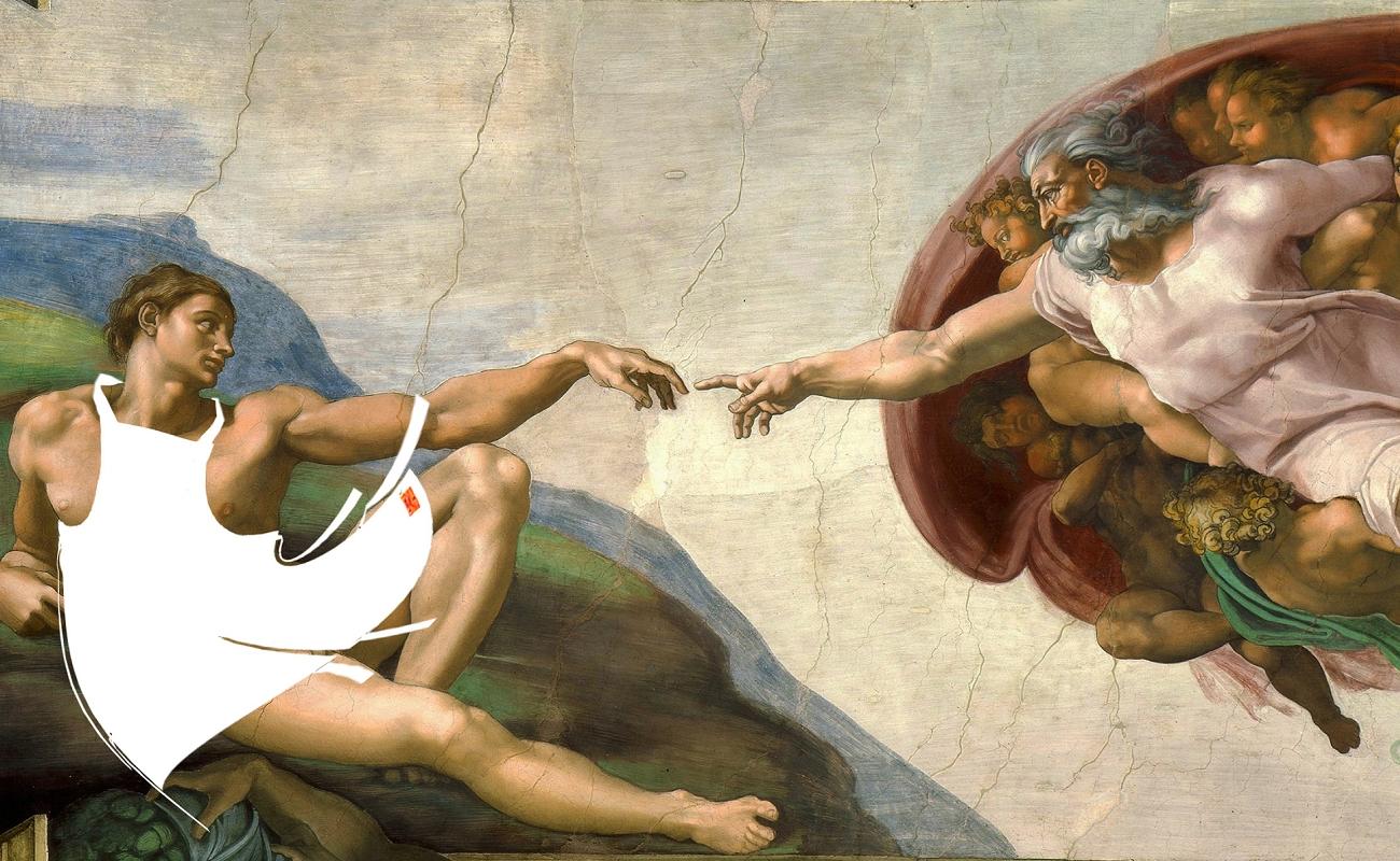 《创世记》第三章中记载到,亚当与夏娃经不起诱惑偷尝禁果,当吃下其图片